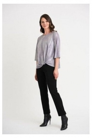 Abstract Sparkle Detail Top - Grey/Silver - 204291