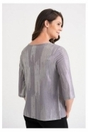 Joseph Ribkoff Abstract Sparkle Detail Top - Grey/Silver - 204291