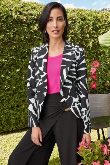 Animal Print Blazer - Black/White - 211209