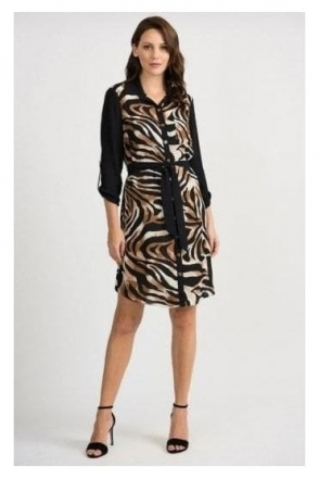 Animal Print Button Dress - Black/Brown - 201118
