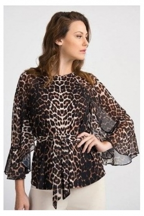 Animal Print Tie Detail Blouse - Beige/Black - 201150