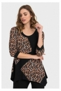 Joseph Ribkoff Animal Print Tunic - Black/Tan- 194697