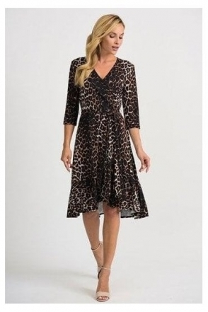 Animal Print Wrap Dress - Beige/Black - 201452
