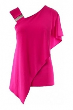 Asymmetric Bias Cut Top (Neon Pink) - 191084