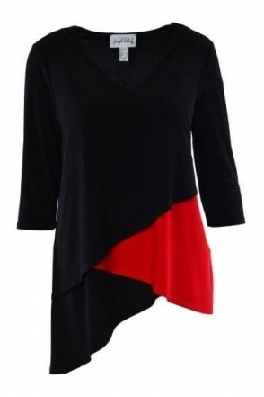 Asymmetric Contrast Top (Black) - 183194