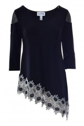 Asymmetric Daisy Hem Embroidered Tunic (Black) - 191309