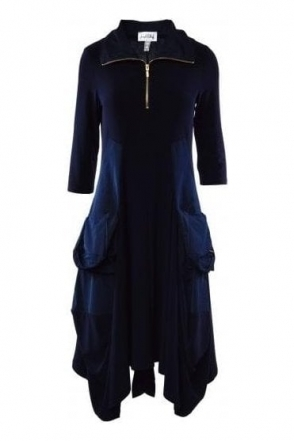 Balloon Hem Pocket Dress (Midnight) - 191452X