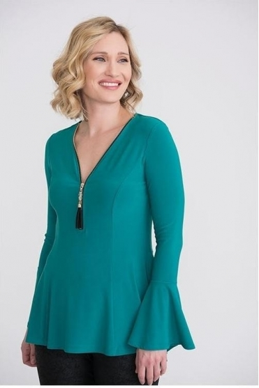 Bead Zip Detail Top - Jade - 204383