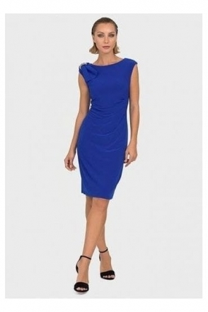 Bow Detail Ruched Dress (Royal Sapphire) - 192013