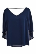 Joseph Ribkoff Cape Drape Top (Navy) - 164281