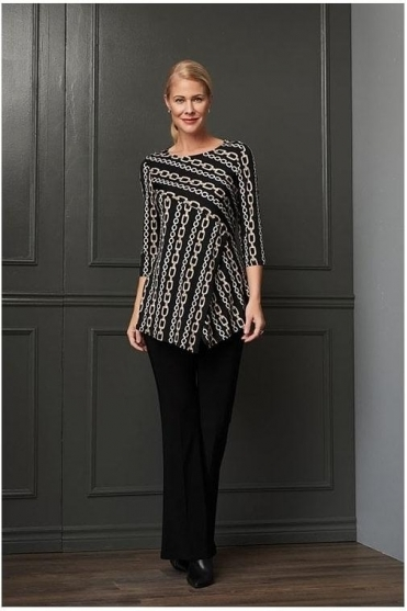 Chain Print Overlay Asymmetric Tunic  - Black - 204158