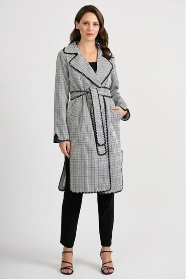 Check Duster Jacket - Beige/Black - 201092