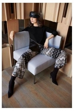 Chevron Print Flare Trousers (Black/Taupe) - 183637
