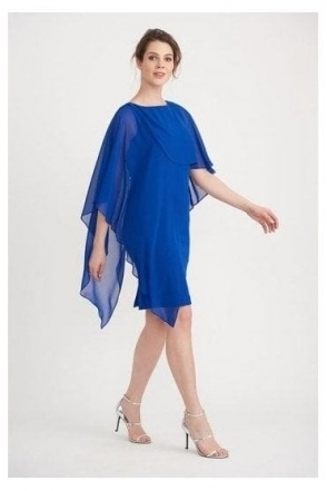 Chiffon Cape Detail Dress - Royal Sapphire - 203449