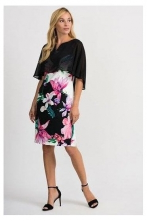 Chiffon Cape Floral Print Dress - Black/Multi - 201369