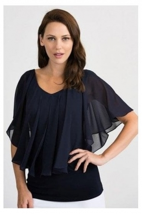 Chiffon Overlay Blouse - Midnight - 201158