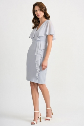 Chiffon Overlay & Frill Detail Dress - Grey Frost - 201072