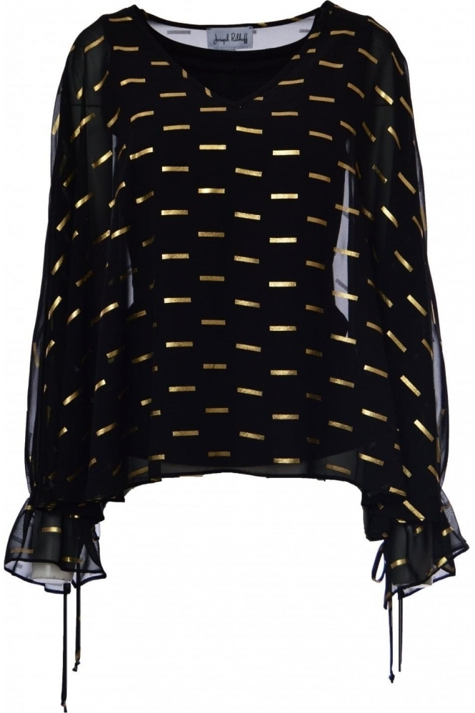Joseph Ribkoff Chiffon Overlay Gold Bar Detail Blouse (Black/Gold) - 184604