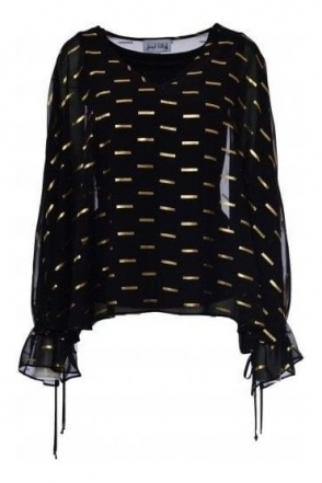 Chiffon Overlay Gold Bar Detail Blouse (Black/Gold) - 184604