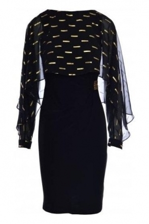 Chiffon Overlay Gold Embellished Dress (Black/Gold) - 184605