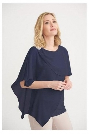 Chiffon Overlay Jewel Detail Top - Midnight - 203479