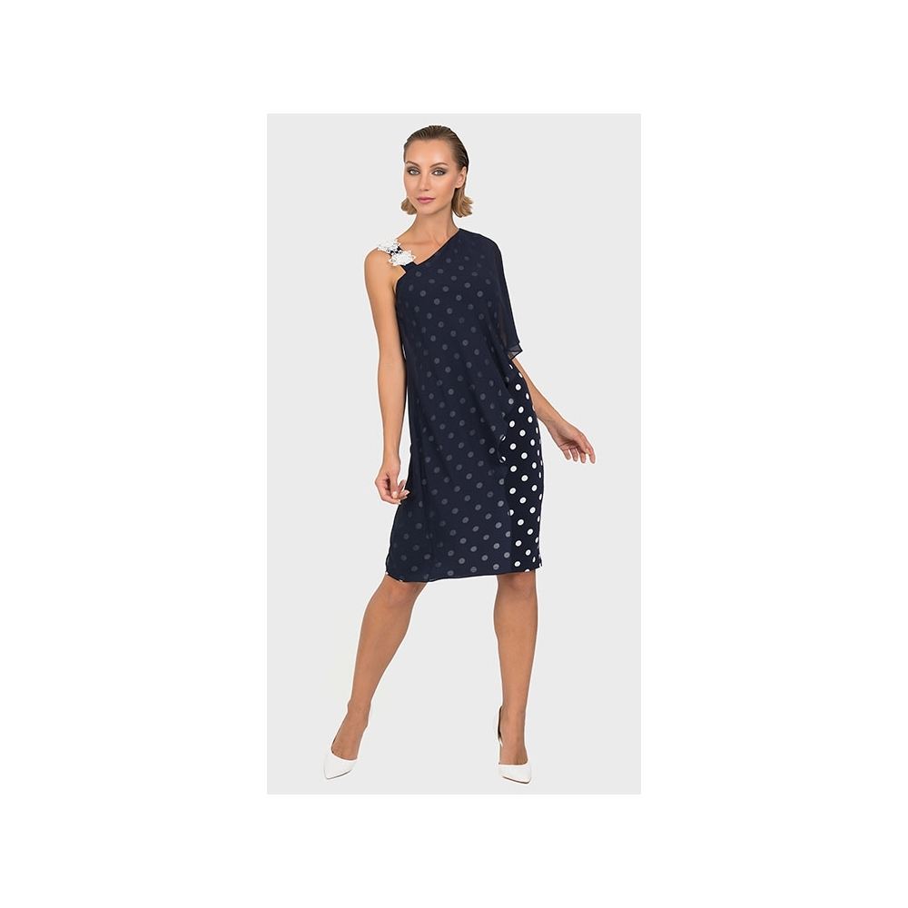 d82fc163f0 Joseph Ribkoff Chiffon Overlay Spot Dress - Midnight/Vanilla - 192850. Click  to enlarge