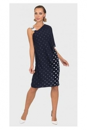 Chiffon Overlay Spot Dress - Midnight/Vanilla - 192850