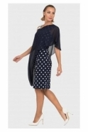 Joseph Ribkoff Chiffon Overlay Spot Dress - Midnight/Vanilla - 192850