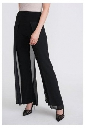 Chiffon Overlay Straight leg Trousers - Black - 204120