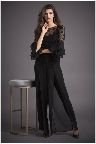 Chiffon Overlay Trousers - Black - 193231