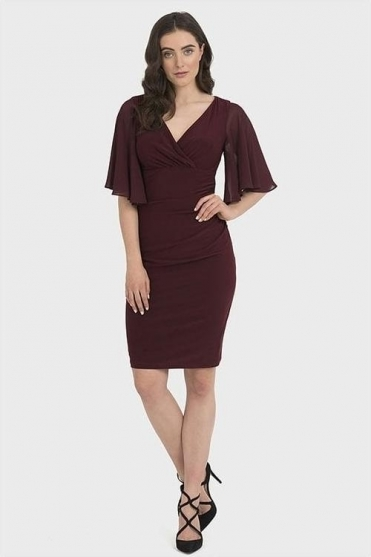Chiffon Sleeve Ruched Dress - Blackberry - 194013