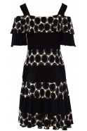 Joseph Ribkoff Circular Print Cold Shoulder Dress - Black/Cream - 191812