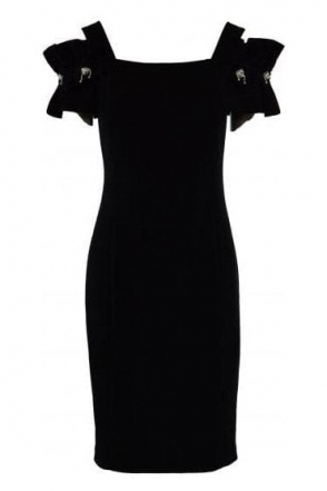 Cold Shoulder Appliqué Detail Dress (Black) - 191041