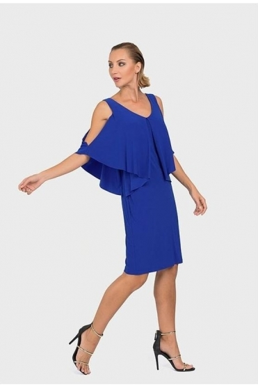 Cold Shoulder Cape Dress (Royal Sapphire) - 192007