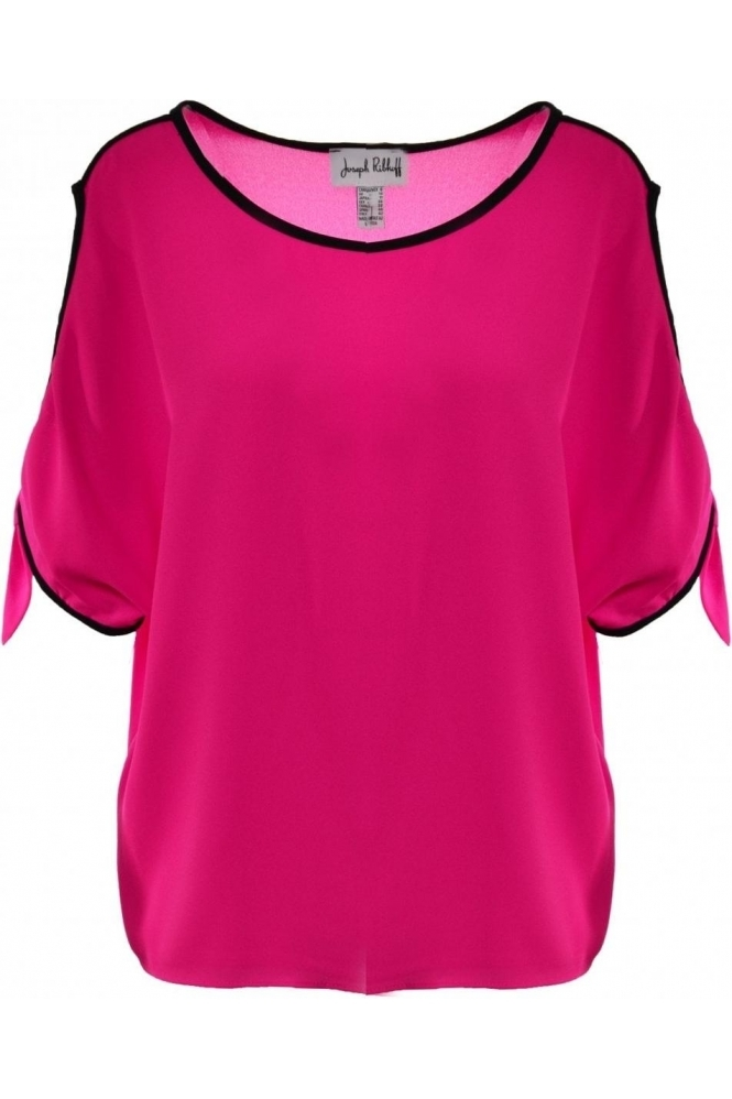 Joseph Ribkoff Cold Shoulder Tie Detail Blouse - (Neon Pink) - 191252