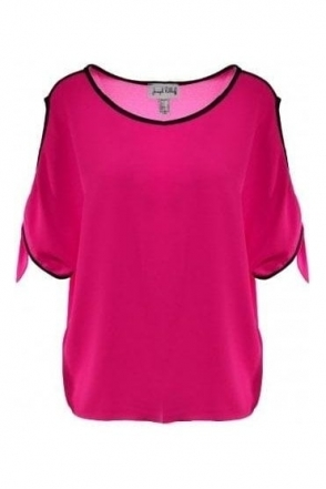 Cold Shoulder Tie Detail Blouse - (Neon Pink) - 191252