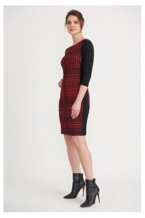 Contrast Houndstooth Print Dress - Black/Red - 203499