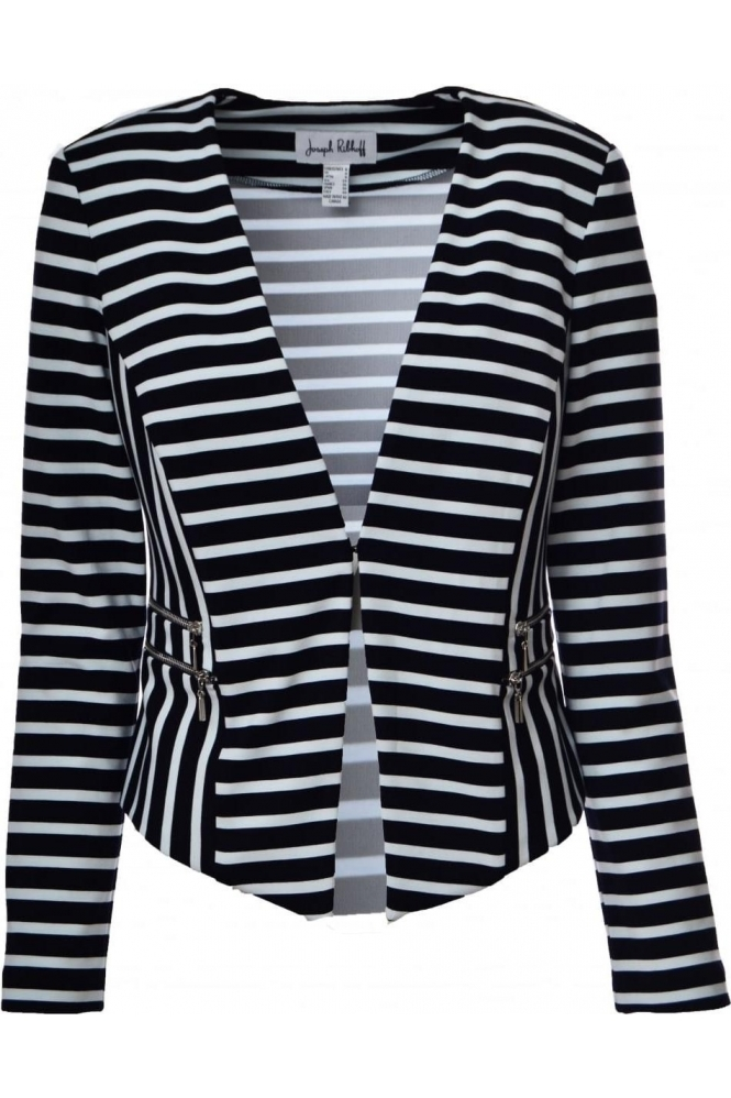 Joseph Ribkoff Contrast Stripe Tailored Jacket (Black/White) - 182929