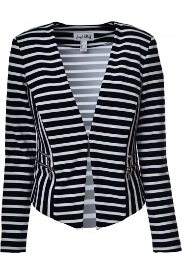Contrast Stripe Tailored Jacket (Black/White) - 182929