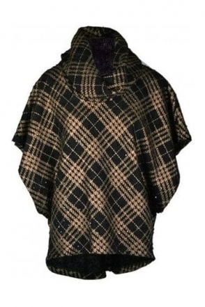 Cowl Neck Textured Cover Up - Black/Bronze - 194775