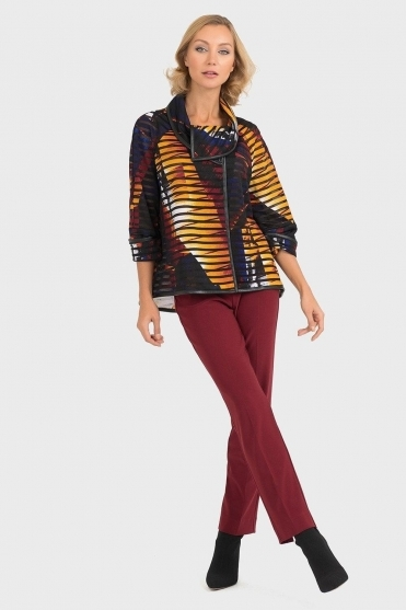 Cowl Neckline Abstract Print Jacket - 193625