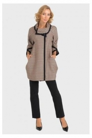 Cowl Neckline Stripe Jacket - Black/Sand - 193871