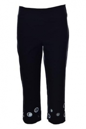 Cut Out Detail Capri Trousers (Black) - 182644
