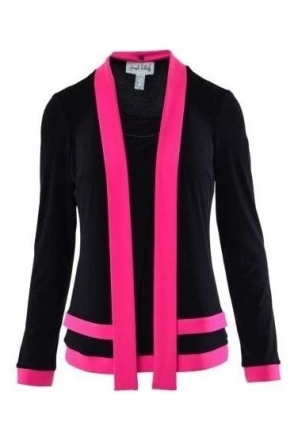 Detachable Scarf Detailed Top (Black/Neon Pink) - 183177