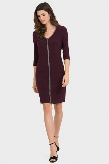 Diamante Detail Shift Dress - Blackberry - 194002