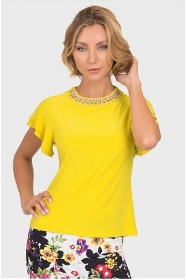 Diamante Embellished Top - Chartreuse - 192127