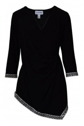 Diamante Embellished Wrap Tunic (Black) - 184078