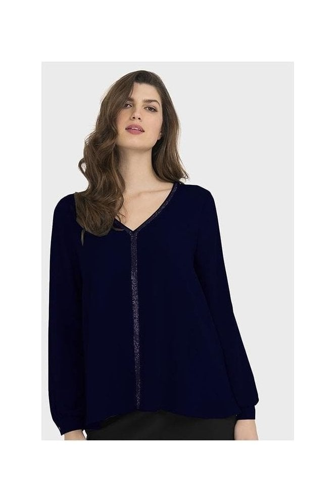 Joseph Ribkoff Diamanté Detail Blouse - Midnight - 194232