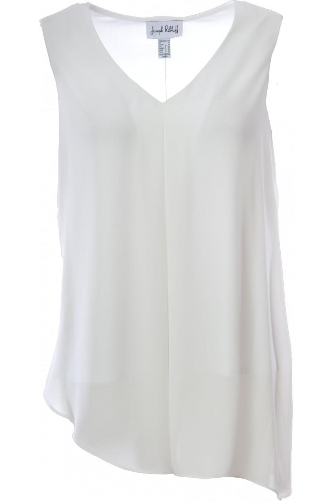 Joseph Ribkoff Double Layer Asymmetric Drape Top (White) - 181287