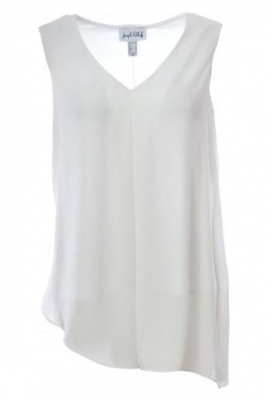 Double Layer Asymmetric Drape Top (White) - 181287